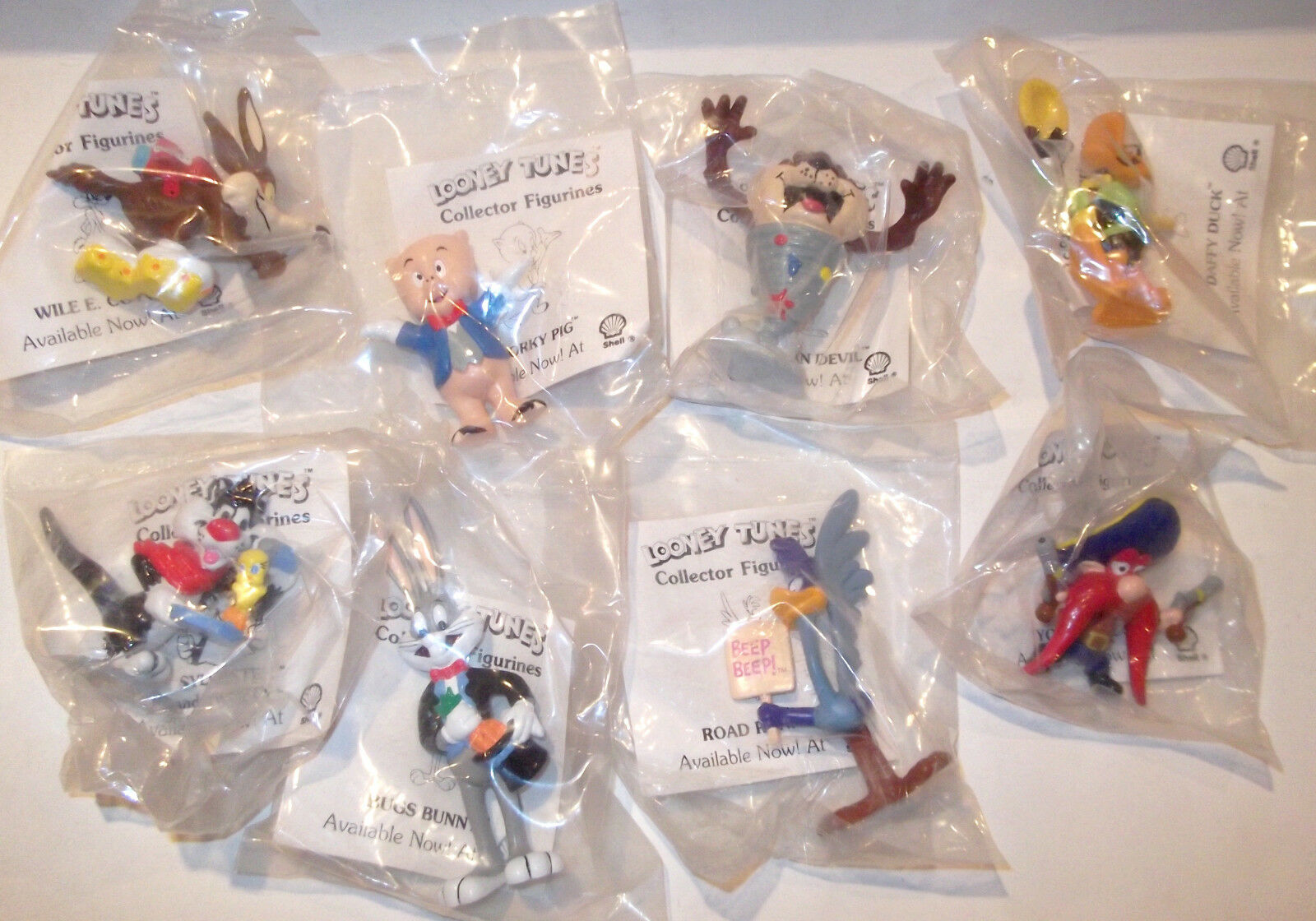 1990 vintage SHELL Gas LOONEY TUNES Figurines SEALED Set 8 LOT yosemite sam