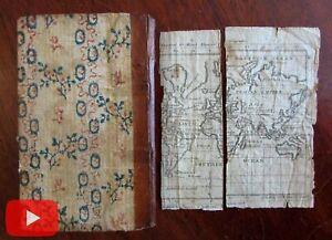Jedidiah-Morse-1798-Elements-Geography-2-maps-juvenile-rare-book-wall-paper
