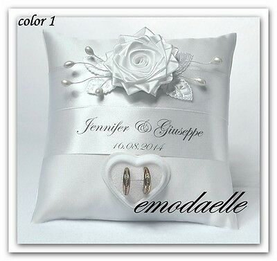 Personalized ! wedding ring cushion pillow with rings holder box  30 color /