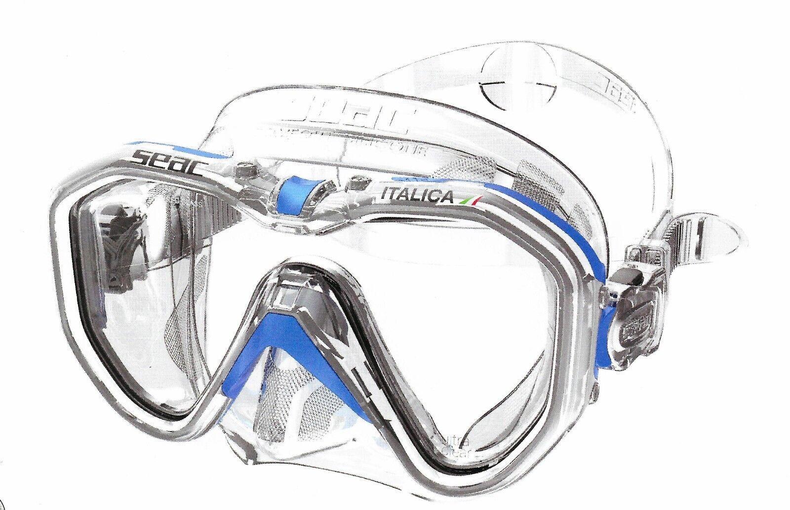 Tauchmaske Taucherbrille 1-Glas  ITALICA ITALICA ITALICA  blau-clear SEACSUB 5ff6ae