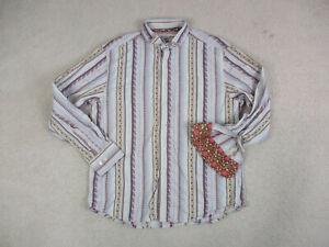 Robert-Graham-Button-Up-Shirt-Adult-2XL-XXL-Brown-Red-Flip-Cuff-Mens-A35