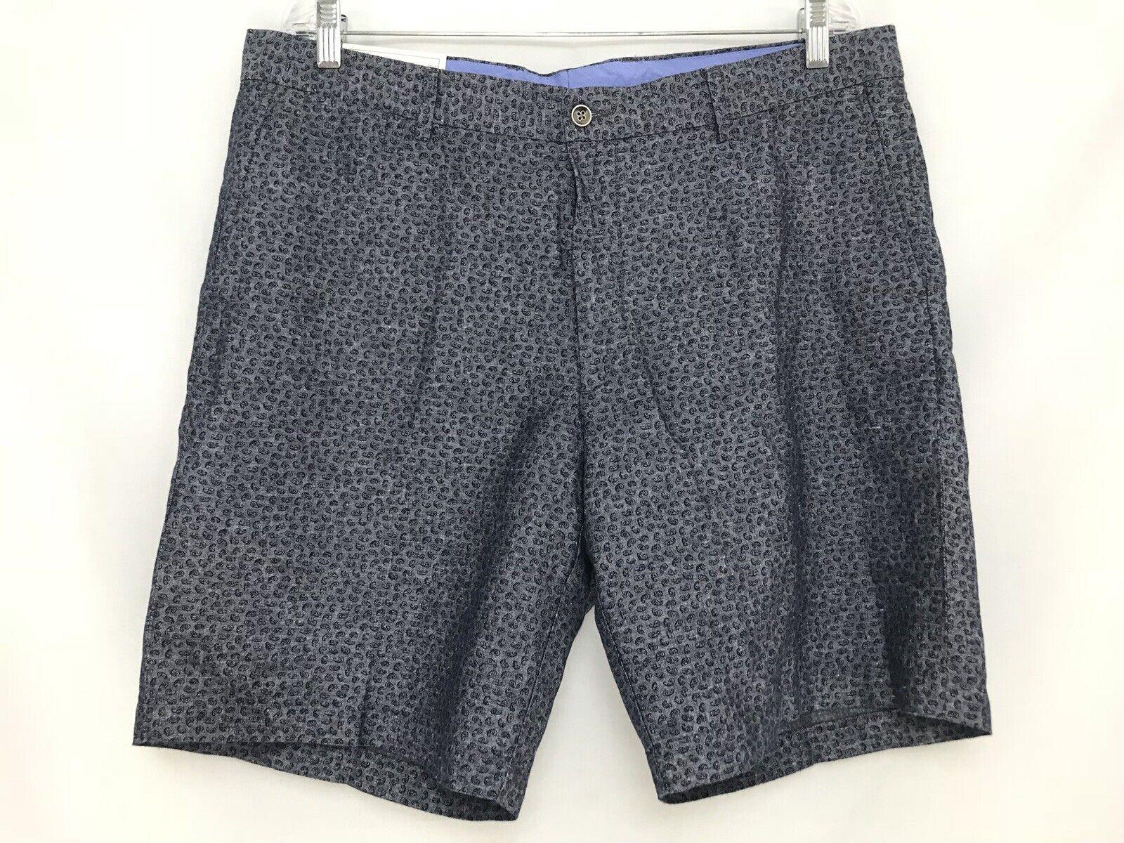 Mens 38 Peter Millar Paisley Pattern Linen Cotton Blend Flat Front Shorts