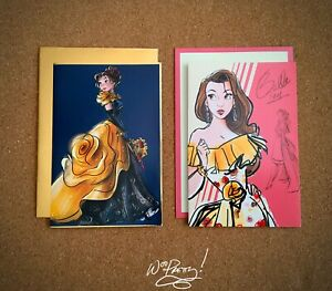 2019-2018-Disney-Designer-Collection-BELLE-Art-Note-Cards-Masqurade-amp-Premier