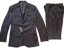 New Ralph Lauren Black Label Italy Made Black 100% Wool Tuxedo Suit SLIM 40 L