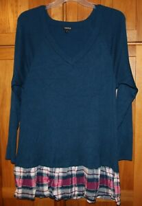 Torrid-Top-Knit-Blue-Long-Sleeve-Layered-Look-Size-3-Excellent