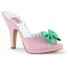 Baby Pink Teal 1950s Retro Mules Peep Toe Pin Up Heels Rockabilly Shoes 7 8 9 10