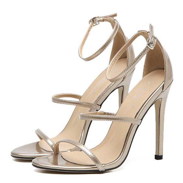 Sandali cm eleganti tacco stiletto 11 cm Sandali oro lucido simil pelle eleganti 9839 b04eec