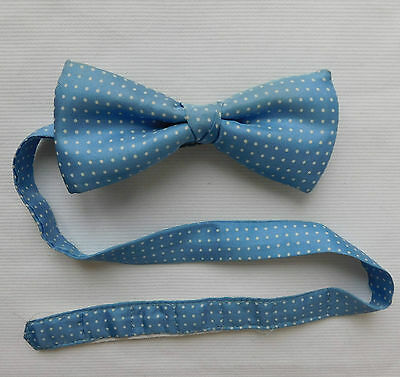Vintage polka dot bow tie pure silk blue with white spots fits collar size 13-18