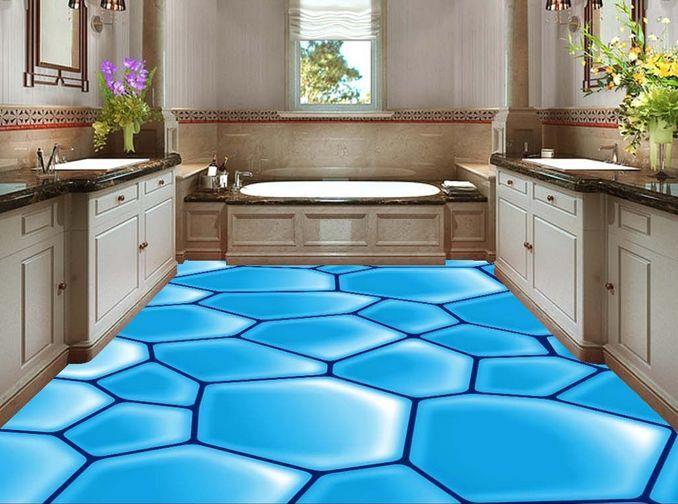 3D crepa blu terreno Pavimento Foto Wallpaper Murales Muro Stampa Decalcomania