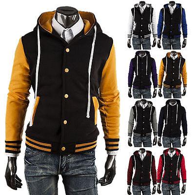 Cool Mens Casual Baseball College Varsity Letterman Hoodie Hooded Jacket Coat