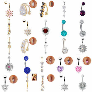 UK-Belly-Button-Bars-Body-Piercing-Ring-Drop-Dangly-Reverse-Silver-Navel-Bar