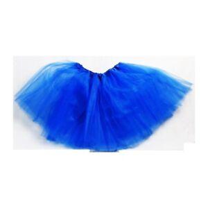 Calidad-Mujer-Nina-Falda-Tutu-elegante-falda-disfraz-fiesta-3-Capas-Azul