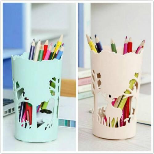 Desktop Pencil Pot Pen Case Brush Desk Holder Storage Cute Cartoon LT