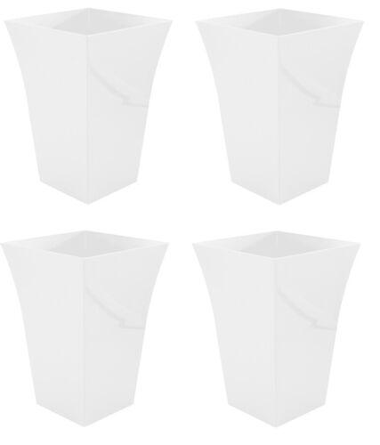 4x Grande Alto bianca svasata MILANO Fioriera in plastica da giardino vaso interni esterni