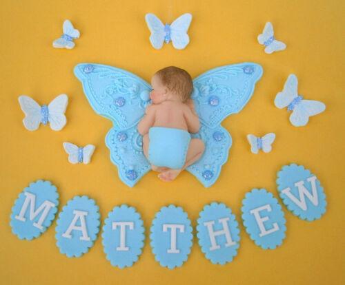 Comestibles Personalizados Mariposa /& Baby Bautizo Pastel Topper Decoración Azul