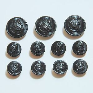 Black Metal Blazer Button Set Equestrian 16pc Sport Coat Buttons Polo Fox Hunt