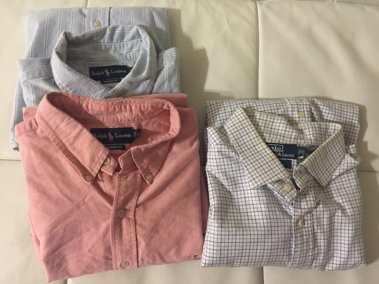 Lot of 3 MENS XL 18 36 37  3 RALPH LAUREN Dress Shirts, bluee, Pink, bluee stripes
