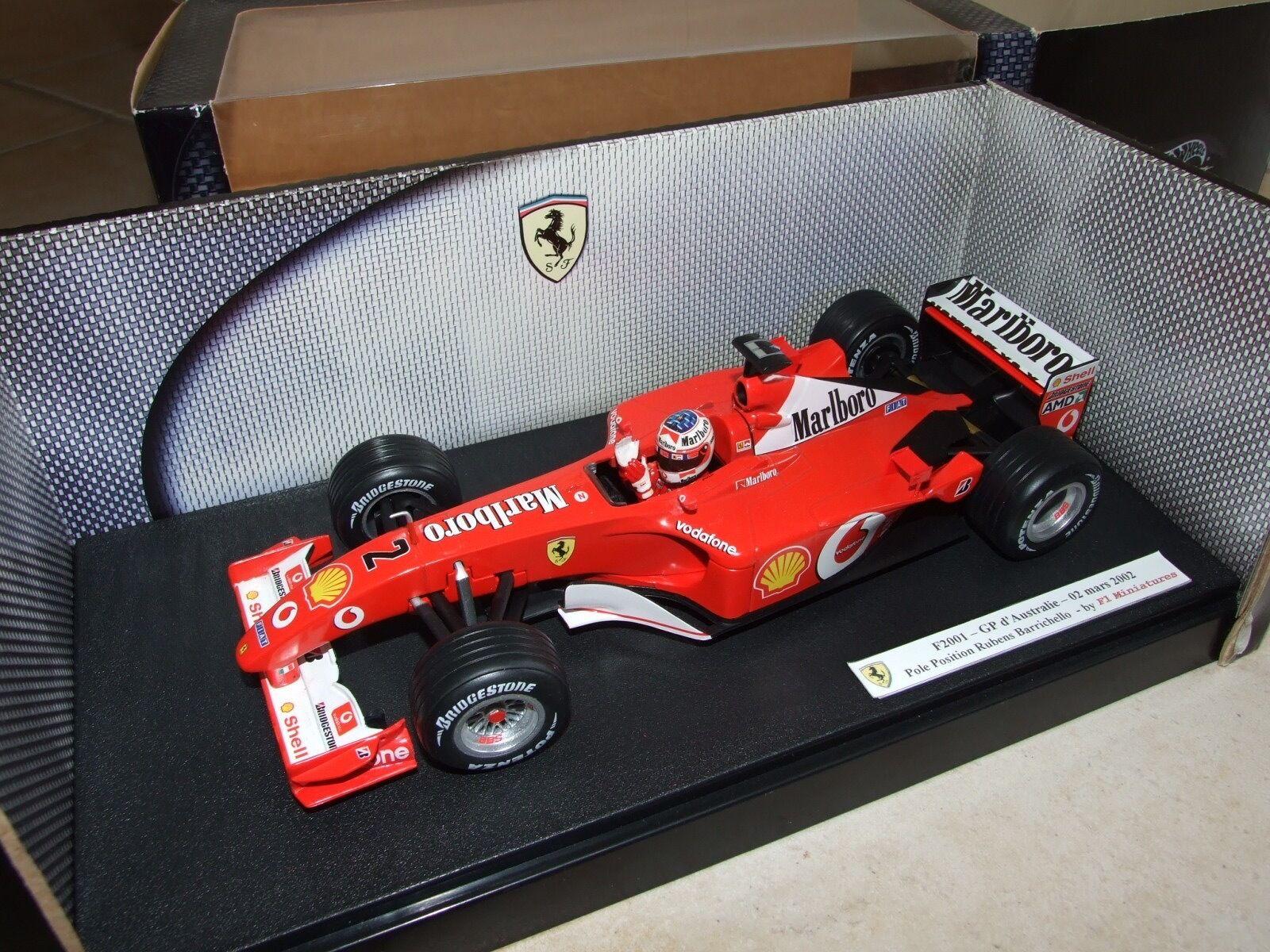 FERRARI F2001 GP AUSTRALIE 2001 BARRICHELLO Pole Positio HOTWHEELS 1 18 avec PUB