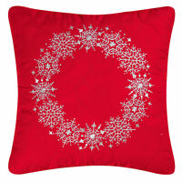 Snowflake Wreath Embroidered Pillow : Red Christmas Quilted Toss