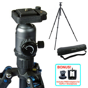 55-034-Aluminum-Camera-Tripod-Stand-w-Ball-Head-GoPro-iPhone-Mount-DSLR-Photography