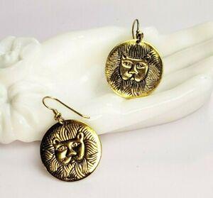 Vintage Laurel Burch Marsh Lion lion's head pierced dangle earrings 1980s