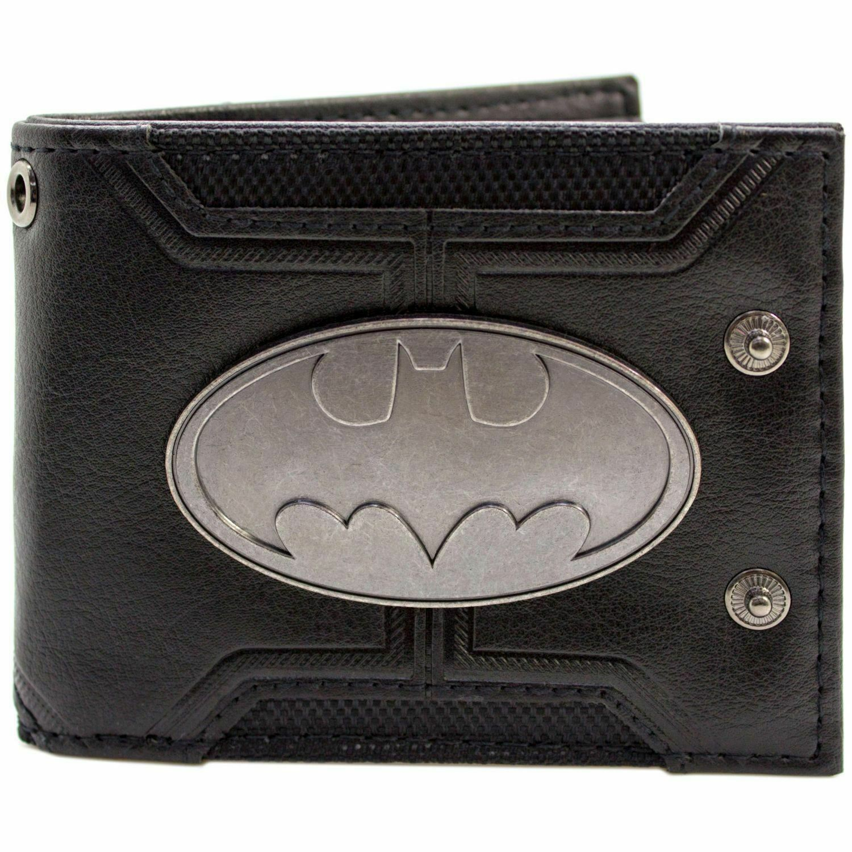 Official Dc Batman Badge Double Buttoned Black Id & Card Wallet *SECOND*