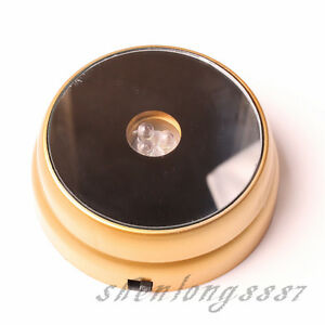New-Round-Crystal-Glass-Paperweights-3-LED-White-Light-Stand-Base-Display-Golden