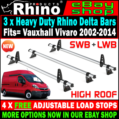 Roller 2002-2014 LOW ROOF SWB LWB TWIN Vauxhall Vivaro Rhino Roof Rack 4 Bars