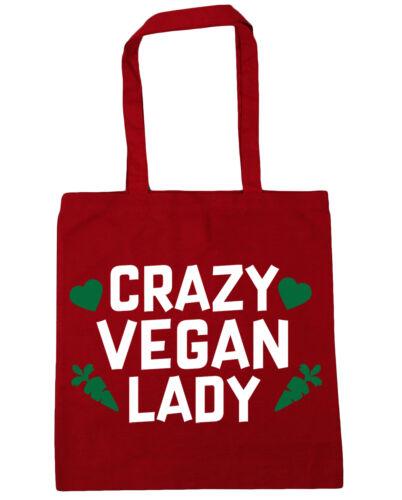 10 litres Crazy vegan lady Tote Shopping Gym Beach Bag 42cm x38cm