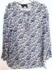 New Theory Floral Paisley Printed Sheer Silk Long Sleeve Peasant Top Blouse Sz M