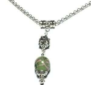 NEW-Green-Pink-Glass-Bead-Pendant-Silver-Chain-Choker-Necklace-16-034-To-30-034-UK