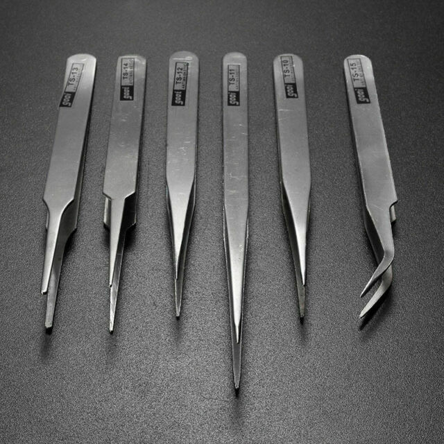 6Pcs Pro Anti-Static Stainless Steel Tweezers Set Maintenance Dzj Tools Pro Y0J2