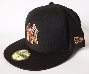 NEW YORK YANKEES Hat New Era 59FIFTY BLACKOUT II Cap Black Copper ... c6673b86b4e