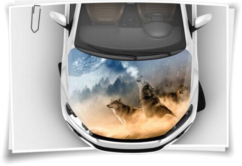 Motorhaube Auto-Aufkleber Wölfe Wald Mond Nebel Wildnis Schutz-Folie Airbrush