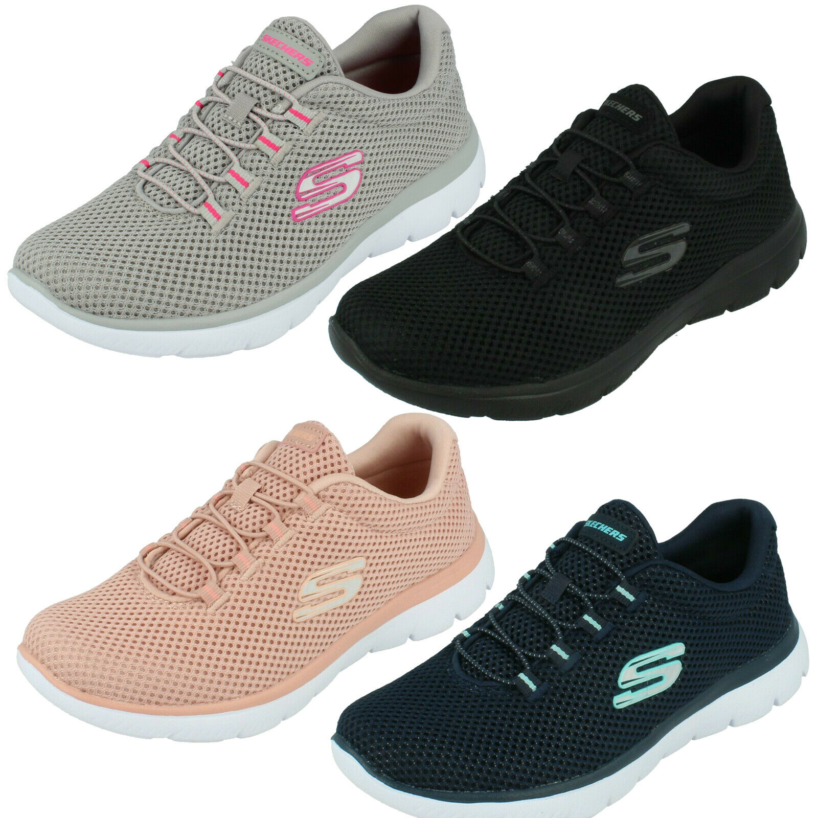 Womens skechers memory foam lace elastic shoes summits quick time