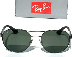b0d7853a0cc NEW  Ray Ban AVIATOR RB 3536 GUNMETAL Matte Black POLARIZED Green ...