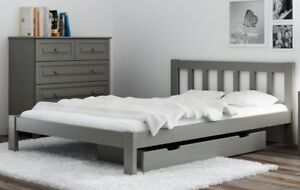brand new c27c2 3df48 Details about Wooden Bed Frame Grey 4ft Small Double with mattress 120x190  Solid Pine Wood