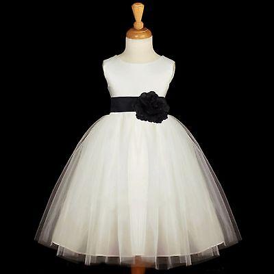 WHITE FLOWER GIRL DRESS PAGEANT TULLE 12-18M 2 4 6 8 10