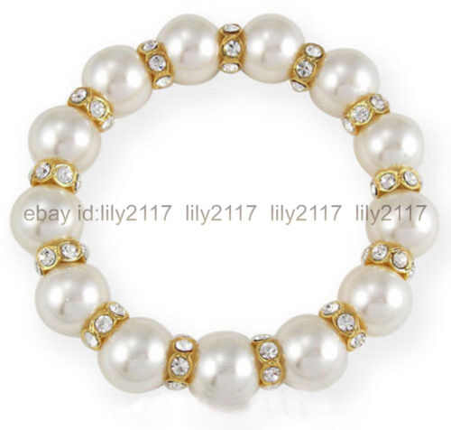 12 mm Blanc South Sea Shell Pearl Cristal Stretch Bangle Bracelet Jolie
