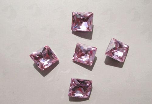 10mm Cuadrado Rhinestone Cristal trasera de punto de arte en uñas Hágalo usted mismo Suministros 50 un