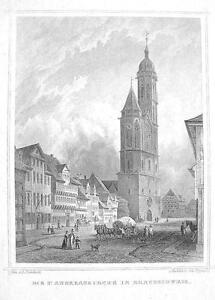 GERMANY-Braunschweig-St-Andreaskirche-Church-1860-Original-Engraving-Print