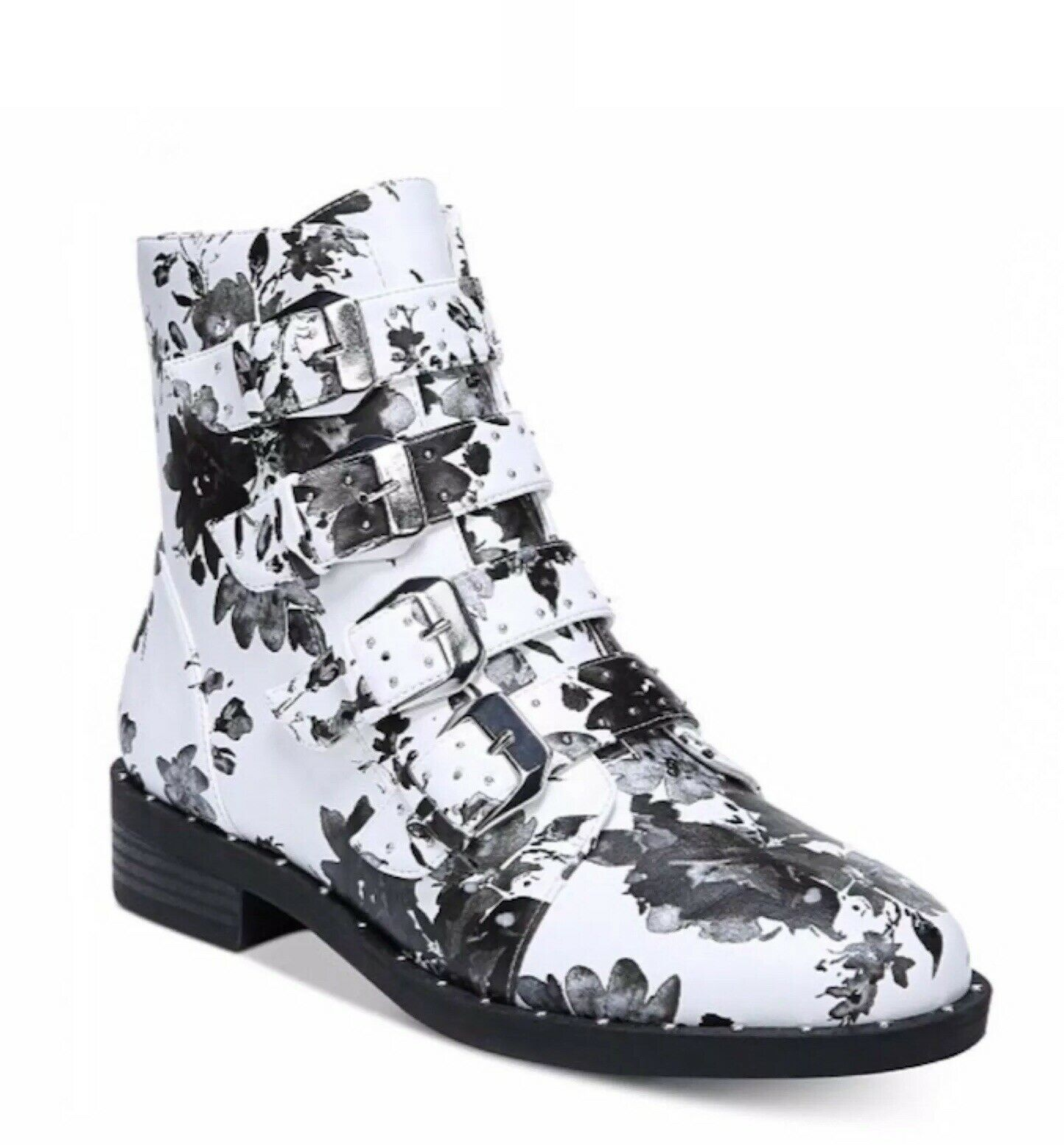 Bar III Womens Black White Floral Buckle Studded Combat Ankle Boots 9 NEW