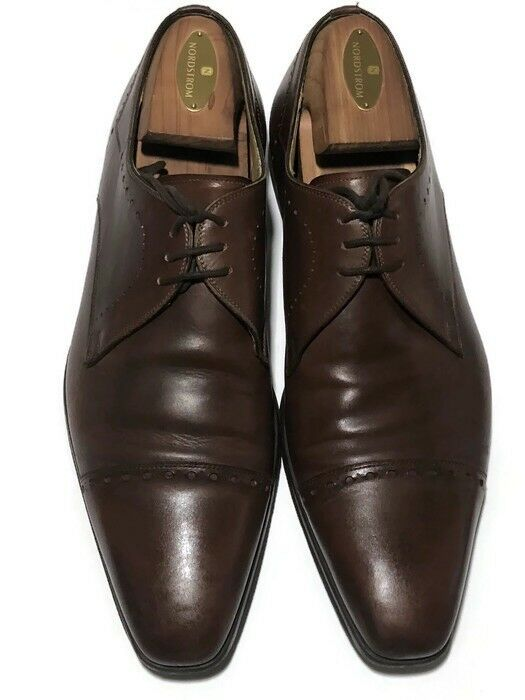 Magnanni Men's Carlito Brown Leather Cap Toe Derby Size 8.5 M - Made In Spain