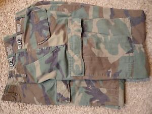 5-LESS-BDU-Camo-2-pr-Jungle-Fatigue-Trousers-GI-X-Sm-Reg-VGC-AF-belt