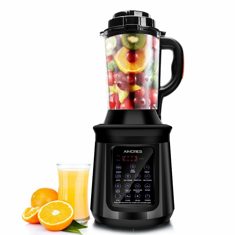 ISUN Aimores Commercial Soup Maker Kitchen Shake Blender Heating Function Black