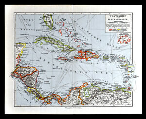 1900 Meyers Map West Indies Central America Cuba Jamaica ...