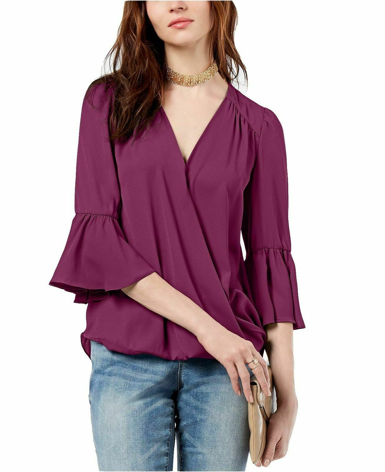 INC International Concepts Surplice-Neck Bell-Sleeve Blou lila XXL