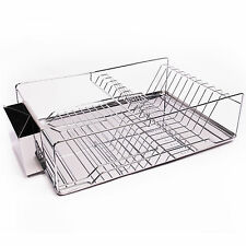 Home Basics 3-Piece Stainless Steel & Chrome Kitchen Sink Dish Drainer Set