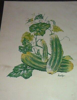 "Vintage Decoupage Hazels circa 1972 Three cucumbers on a vine 6 1//2/"" x 8/"""