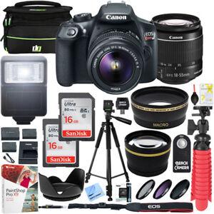 Canon T6 EOS Rebel DSLR Camera EF-S 18-55mm f/3.5-5.6 IS II Lens 16GB x2 Bundle 13803271348